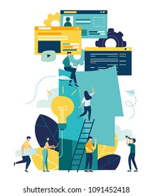 Vector creative illustration of business graphics, the company is engaged in joint search for ideas, the voice of an abstract person, filled with ideas of thought and analytics, website development