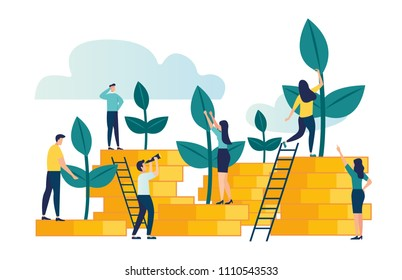 Vector creative illustration of business graphics, the company is engaged in the joint construction and cultivation of cash profits, career growth to success, flat color icons, business analysis