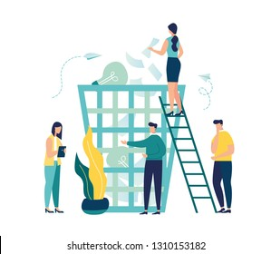 Vector creative illustration of business graphics, the employee is engaged in recycling garbage, career growth to success, flat color icons, business analysis, environmental protection - Vector