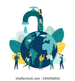 Vector creative illustration of business graphics, save the planet, save energy and water, design concept world water day, March 22