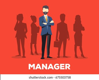 Vector creative illustration of business man with silhouettes of people on red background. The manager is in a suit with a beard. Search for a new manager in business team. Design for business vacancy