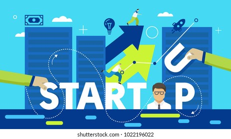 Vector creative illustration of business startup word lettering typography with line icons