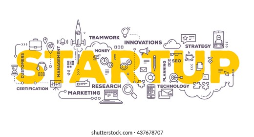 Vector creative illustration of business startup word lettering typography with line icons, tag cloud on white background. Startup technology concept. Thin line art style design for business startup