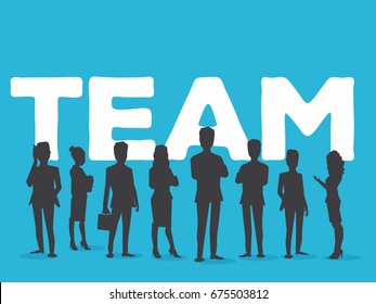 Vector creative illustration of business team. Office staff teamwork. Silhouettes of people and team word lettering typography on blue background. Stylish design of word team for business theme