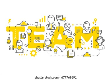 Vector creative illustration of business team line art style. People, icons and yellow team word typography on white background. Office staff teamwork. Stylish design of word team for business theme