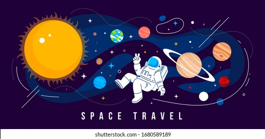 Vector creative illustration of cosmonaut in spacesuit exploring outer space with planet of solar system and sun. Astronaut flying in zero gravity on dark background. Flat line art style design