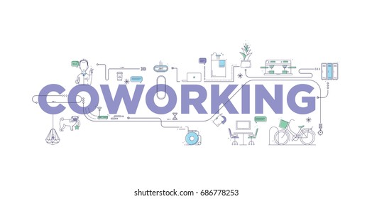 Vector creative illustration of coworking word lettering typography with line icons on white background. Branding technology concept for Coworking center, University campus. Header banner, flyer, card