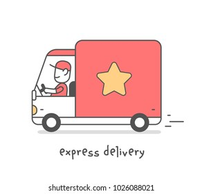 Vector creative illustration of delivery happy man in red uniform with cap carrying the parcel by car. Express delivery of parcel service. Flat line art style design for web, banner
