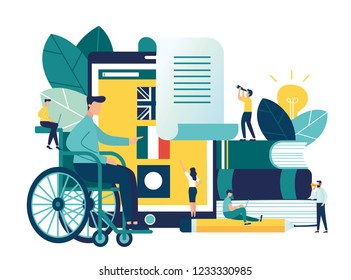 Vector creative illustration of distance learning for people with disabilities, online learning, choice of language courses, exam preparation, home schooling