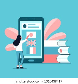 Vector creative illustration of distance learning, online learning, choice of language courses, exam preparation, home schooling. Online education concept. Smartphone with language app