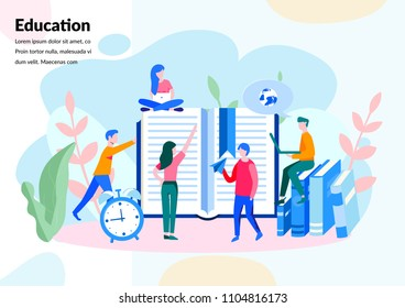 Vector creative illustration , education in home, distance, online education, , preparation for exams,  business school