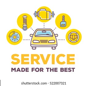 Vector creative illustration of frontal view car on white background with word header and line auto accessories. Car service and maintenance concept. Flat thin line art style design for car repair