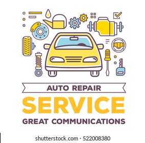 Vector creative illustration of frontal view car with line objects, word typography on white background. High quality car service, maintenance concept. Flat thin line art style design for car repair