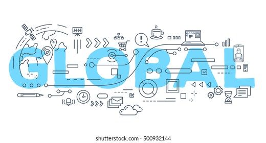 Vector creative illustration of global word lettering typography with line icons on white background. Global technology concept. Thin line art style design for site, web, banner, poster