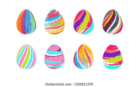 vector creative illustration. Happy easter. family celebration. creative modern design of eggs. Easter frame graphics in a colorful brush style. Vector set of eggs