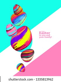 vector creative illustration. Happy easter. family celebration. creative modern design of eggs. Easter frame graphics in a colorful brush style