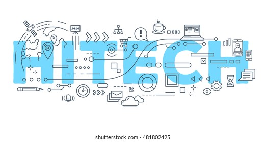Vector creative illustration of hitech word lettering typography with line icons on white background. Business innovation technology concept. Thin line art style design for innovation technology theme