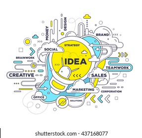 Vector creative illustration of creative idea with light bulb, tag cloud on white background. Idea technology concept. Hand draw thin line art style design with light bulb for create idea, brainstorm