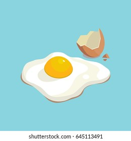 Vector creative illustration. The image scrambled and Sunny-side up egg shell. on a blue background. The combination of blue and yellow.