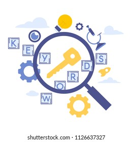Vector creative illustration of Keyword Research.  Elements  for graphic and web design.