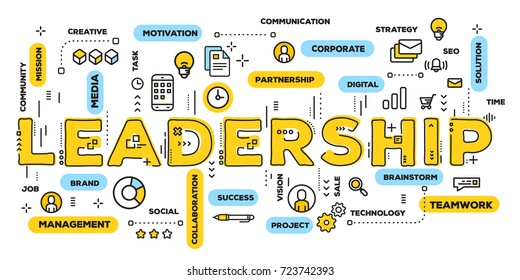 Vector creative illustration of leadership yellow word lettering typography with line icons and tag cloud on white background. Business leadership concept. Thin line art style design of leader banner