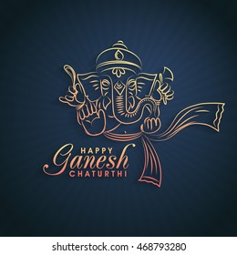 Vector creative illustration of Lord Ganesha on glossy abstract rays background for Ganesh Chaturthi Celebration.