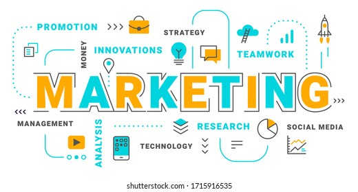 Vector creative illustration of marketing word typography with business icon and word cloud on white background. Flat line art style design of marketing concept for business banner, presentation