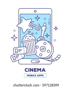 Vector creative illustration of mobile phone with popcorn, movie tickets, bobina film, award statuette on white background. Event cinema application concept. Thin line flat design of cinema guide app