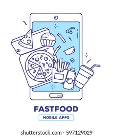 Vector creative illustration of mobile phone with pizza, french fries, drink, muffin on white background. Food delivery application concept with heading. Thin line flat design of fastfood mobile app