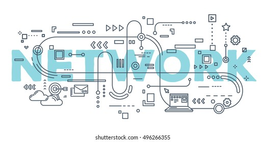Vector creative illustration of network word lettering typography with line icons on white background. Networking concept. Thin line art style design for business idea theme website banner