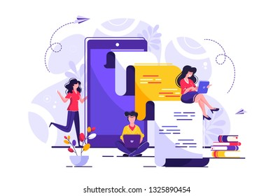 vector creative illustration, online news, social networks, virtual communication, information search, company news
