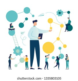 Vector creative illustration. the scientist conducts laboratory studies and studies the statistical data of the results. compound malekul and atoms. modern technology machine learning, artificial inte