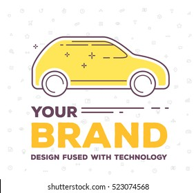 Vector creative illustration of side view car with pattern of line icons and word typography on white background. Car brand service, maintenance concept. Flat thin line art style design for car brand