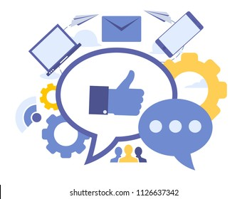 Vector creative illustration of social engagement. Elements  for graphic and web design