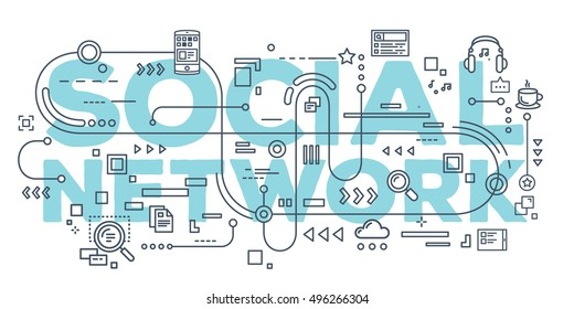 Vector creative illustration of social network word lettering typography with line icons on white background. Social networking concept. Thin line art style design for business idea website banner