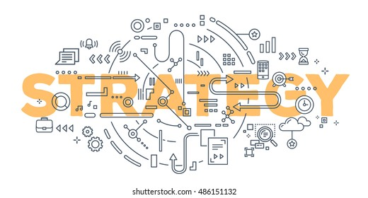 Vector creative illustration of strategy word lettering typography with line icons on white background. Business strategy concept. Thin line art style design for web, site, banner