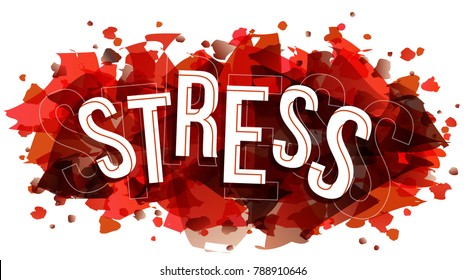 Vector creative illustration of stress word