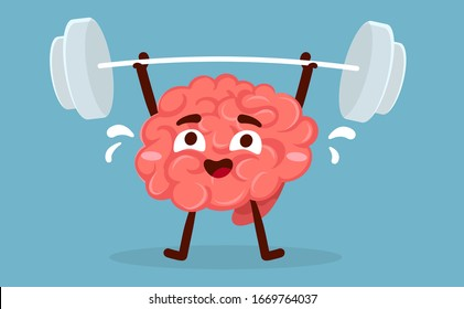 Vector creative illustration of strong pink human brain character with sweat lifting barbell on blue background. Flat style education concept design of brain for web, site, banner, poster