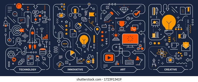 Vector creative innovate technology business process template. Set of business concept horizontal illustration on dark background. Hand draw flat line art style design for web, banner, print