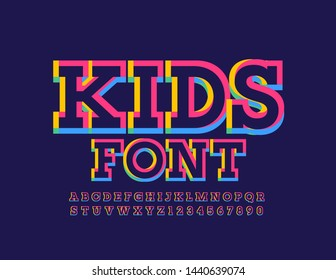 Vector creative Kids Font. Bright colorful Alphabet Letters and Numbers