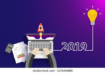 Vector creative light bulb idea 2019 new year startup idea concept, With businessman working on laptop computer PC