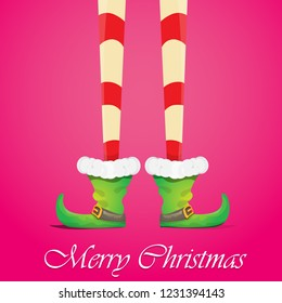 vector creative merry christmas greeting card with cartoon elf's legs, elf shoes and christmas stripped stocking on pink background . Vector merry christmas background