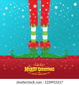 vector creative merry christmas greeting card with cartoon elf's legs, elf shoes and christmas stripped stocking on falling snow in sky. Vector merry christmas background