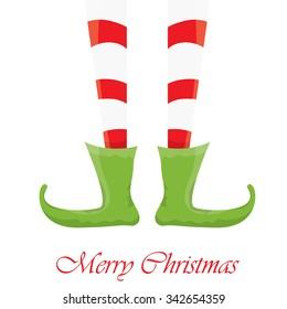 vector creative merry christmas greeting card, christmas cartoon elf's legs on white snow background