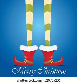 vector creative merry christmas greeting card with cartoon elf's legs and greeting calligraphic text Merry christmas on blue sky background. Vector merry christmas background