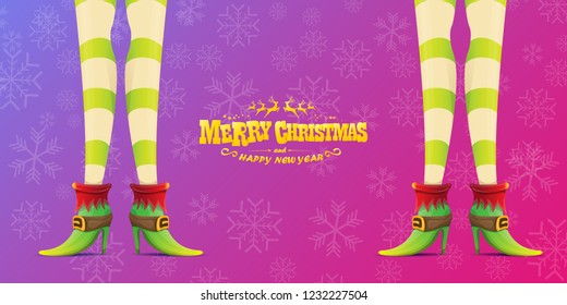 vector creative merry christmas horizontal banner with cartoon elf hot girls legs and golden greeting calligraphic text Merry christmas isolated on violet background with snowflakes. Christmas girl