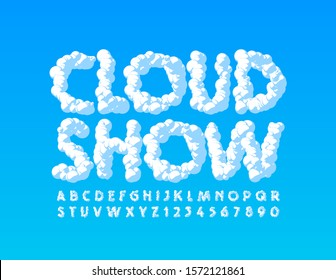 Vector creative poster Cloud Show with Uppercase Font. Sky texture Alphabet Letters and Numbers