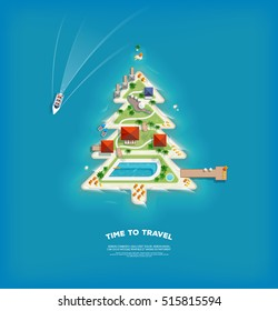 Vector creative poster with Island in the form of a Christmas tree. Travel and tourism banner with top view.