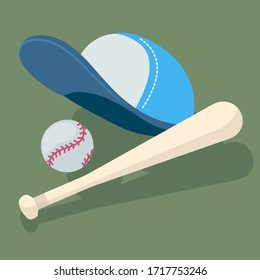 Vector creative realistic illustration of baseball cap and baseball bat with ball on green background. Cartoon style concept design of sport education for web, site, banner, poster