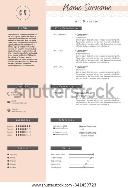 Vector Creative Resume Template Minimalistic Pink Stock ...